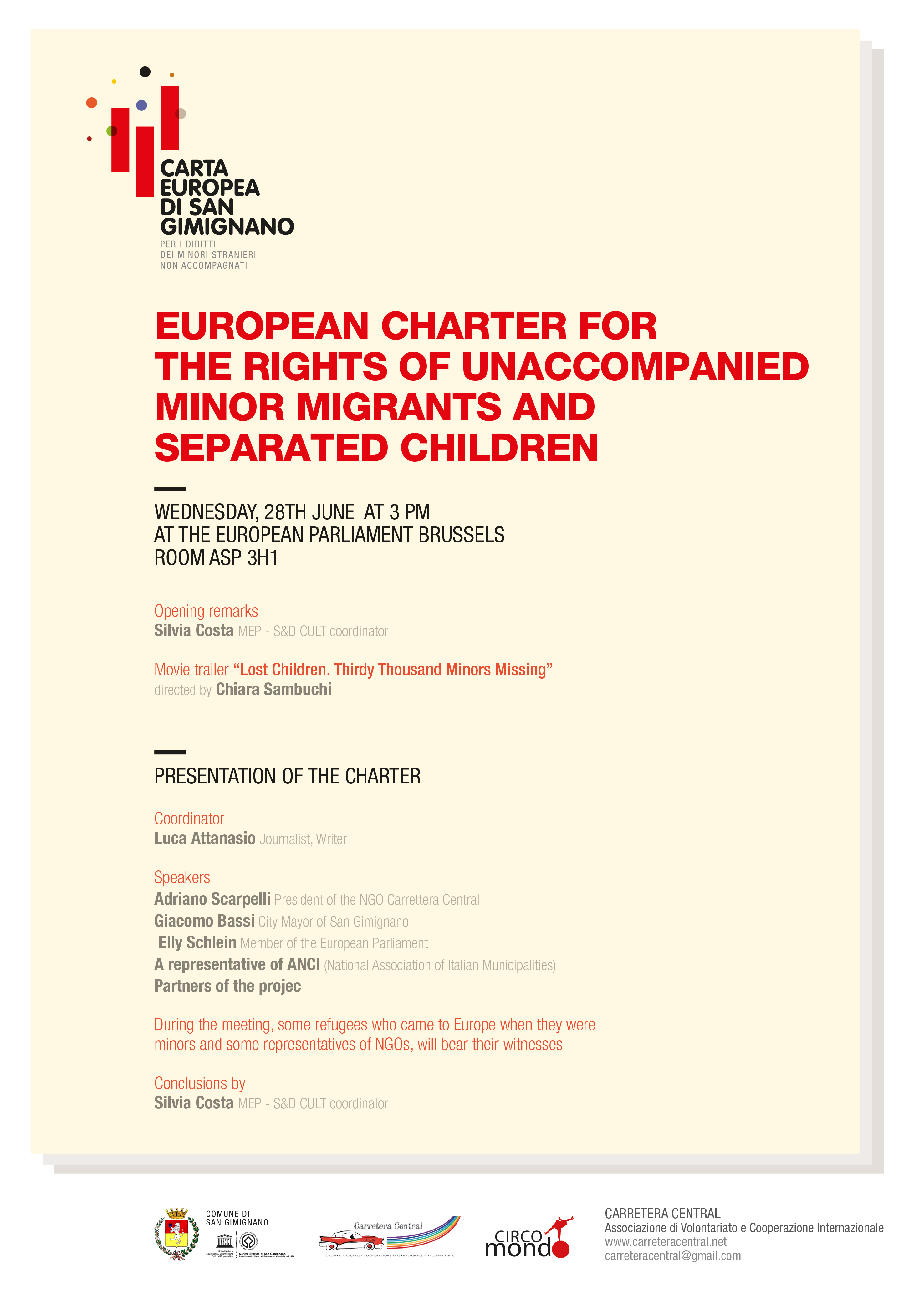 european charter on ijjo about the presentation to the European Parliament Brussel