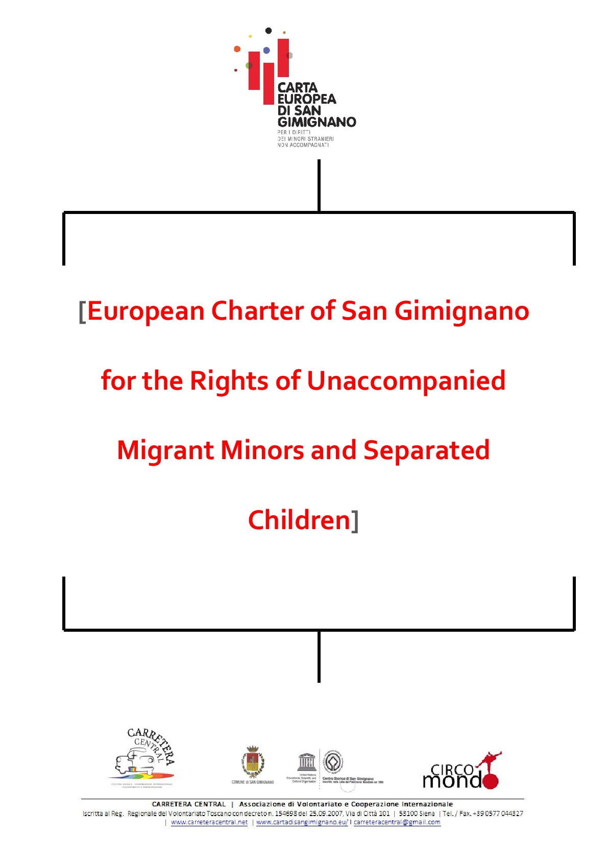 european charter of san gimignano for the rights of unaccompanied migrant minors and separated children