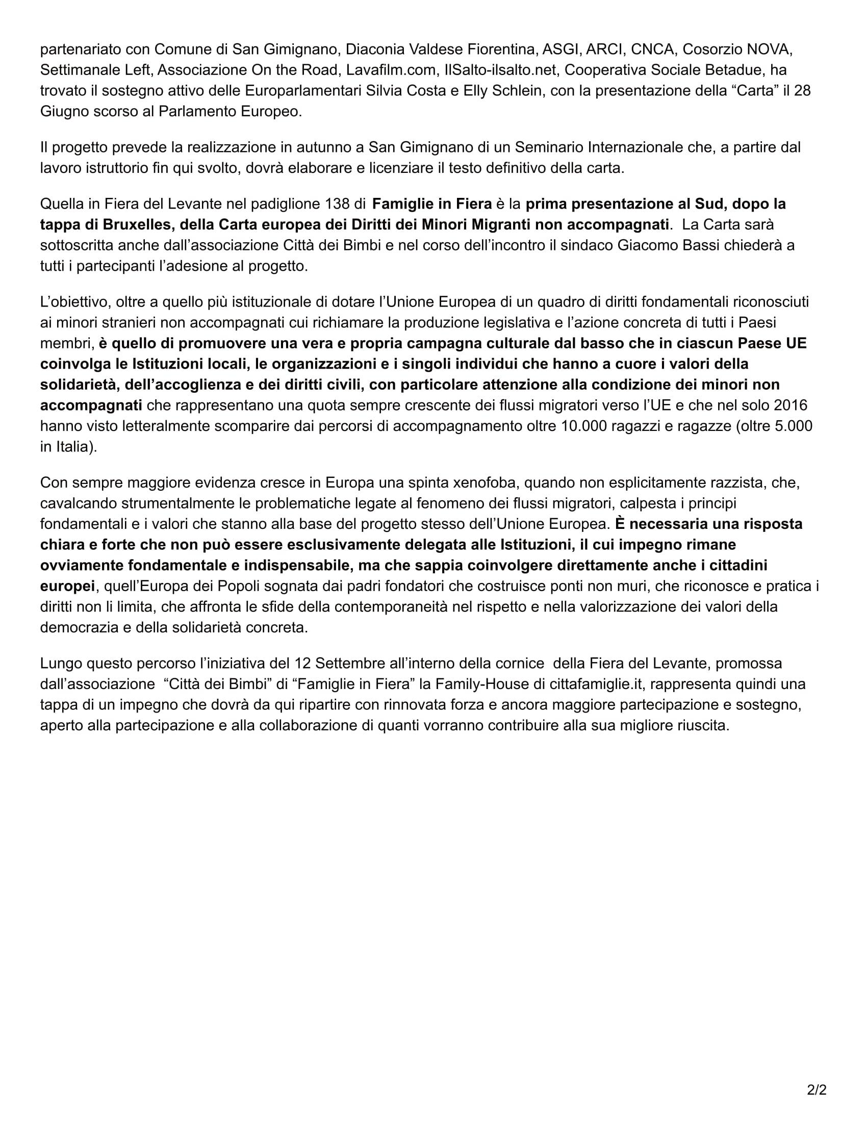 """<img src=""""http://www.cartadisangimignano.eu/wp-content/uploads/2017/09/cittafamiglie.it-Minori-stranieri-non-accompagnati-la-Carta-Europea-dei-diritti-2.jpg"""" alt=""""Articolo sulla Carta Europea di San Gimignano""""/>"""