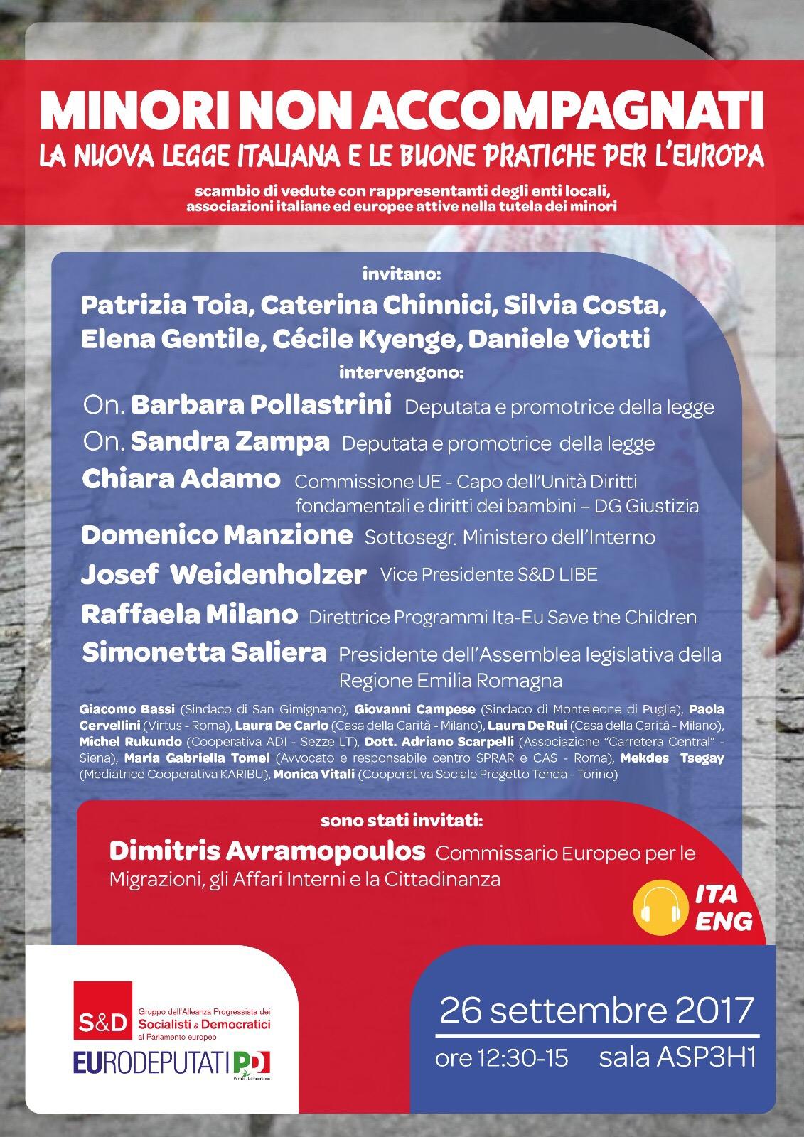 locandina della presentazione della carta europea di san gimignano per i diritti dei minori stranieri non accompagnati al parlamento europeo