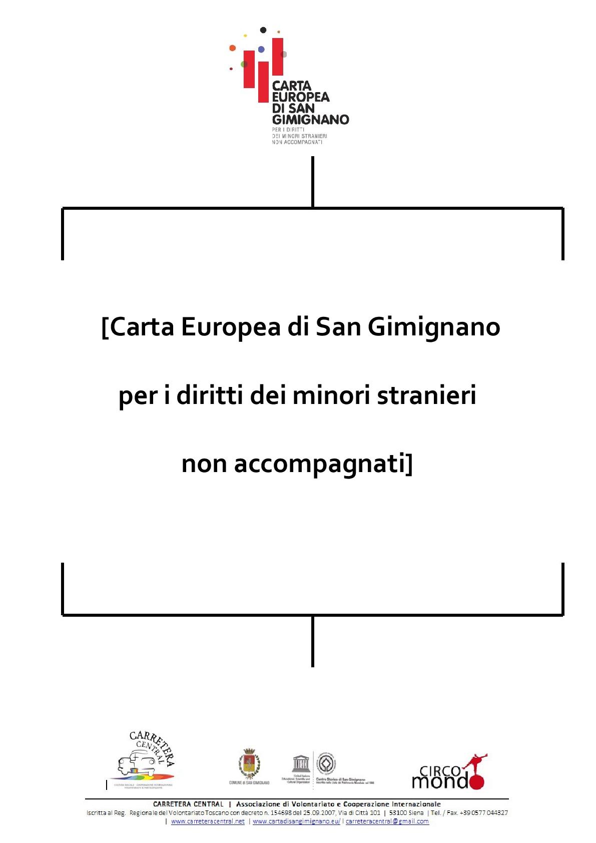 carta europea di san gimignano per i diritti dei minori stranieri non accompagnati